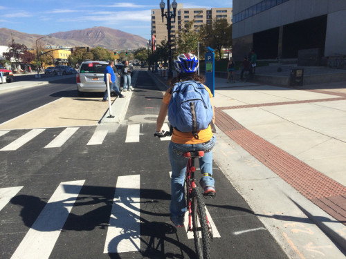 Salt Lake City's planned system of protected and low stress bikeways is a key component of the new bicycle master plan. Photo by Dave Iltis