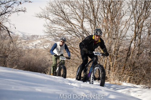 Racing Frosty the Fat Bike Race Series in Utah. Photo courtesy Mad Dog Cycles.
