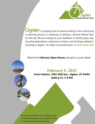 Ogden will hold an open house for the upcoming Bicycle Master Plan on February 5, 2015 from 5-8 pm at Gallery 51 in Ogden.