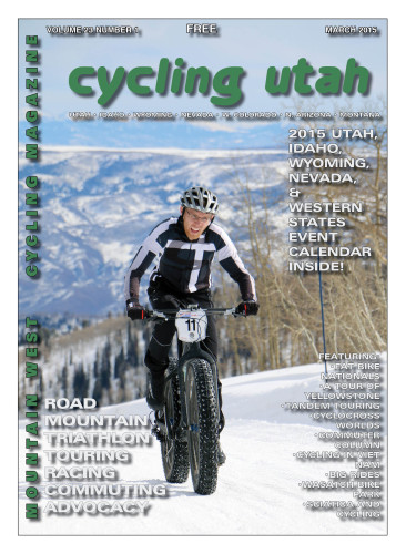 Cover Photo: Utah's Geoffrey Montague rides through his last lap at the USA Cycling Fat Bike National Championships on February 14, 2014, held at Powder Mountain. Montague finished in 11th place in the Pro division. Photo by Dave Iltis. For a full gallery, see gallery.cyclingutah.com.
