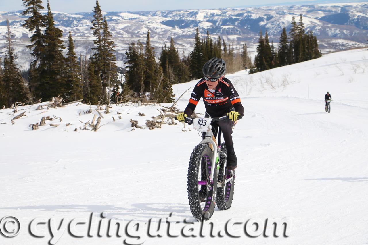 Amanda Miller winning the pro Fat Bike National Championship at Powder Mountain on February 14, 2015. Photo by Dave Iltis
