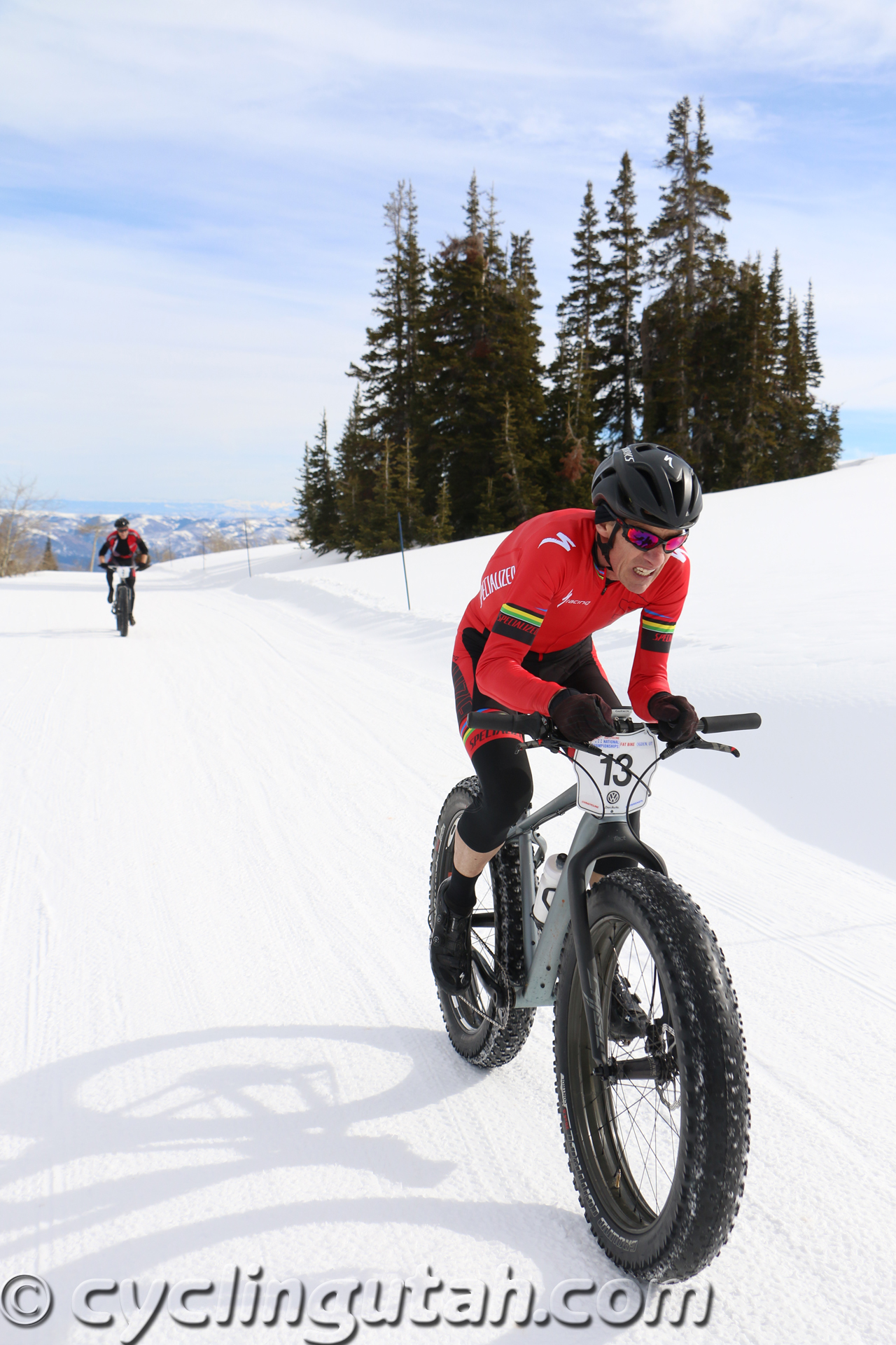 Ned Overend in the midst of a devastating last lap attack on his way to winning the pro Fat Bike National Championship at Powder Mountain on February 14, 2015. Photo by Dave Iltis