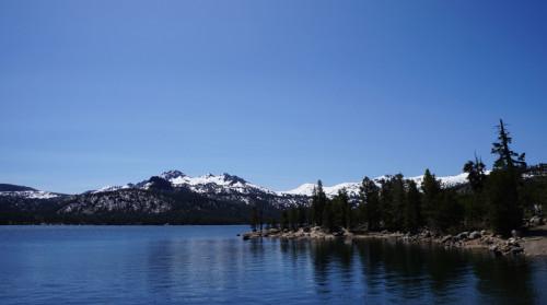 Snowy peaks over Caples Lake.