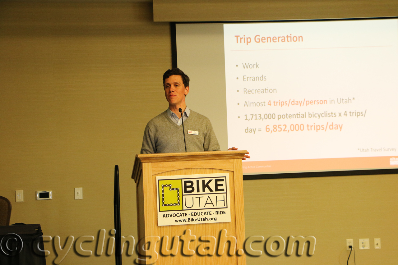 Tom Millar of Alta Planning gives one of the many talks at the Utah Bike Summit in 2014. Photo by Dave Iltis