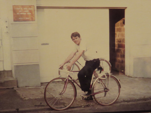 Mormon mIssionary in France on Peugeot bicycle circa 1970s