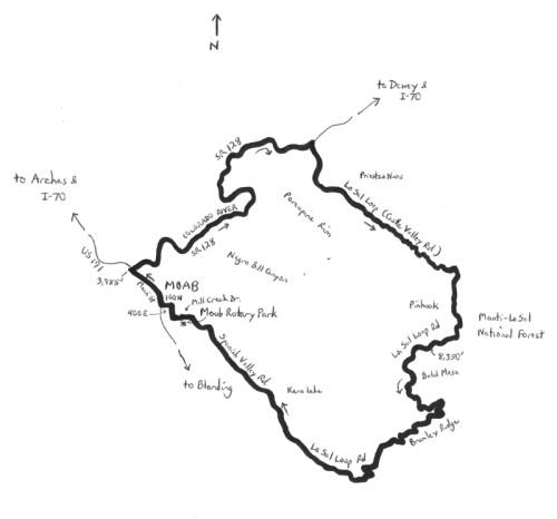 La Sal Mountain loop map