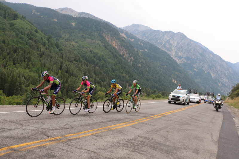 Anacona, Horner, Danielson, and Kelderman just above Tanner's Flat in stage 6. Photo: Dave Iltis