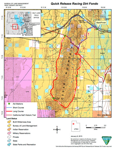 Map of Ceder Mountains Utah