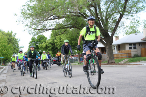 A Unicyclist came along for the ride. Anyone can bike commute. It's healthy and saves you money. Photo by Dave Iltis