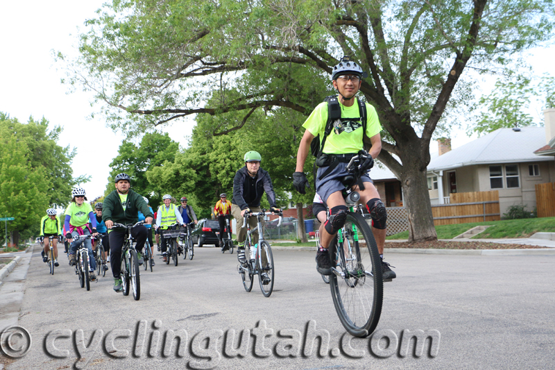 Mayor McAdams and Mayor Becker lead out the 2015 Mayor's Bike to Work Day at the new Sugarhouse Draw on the PRATT Trail. Photo by Dave Iltis