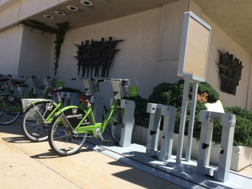 The new GreenBike bikeshare Station at 200 S. and 200 E in Salt Lake City. Photo by Dave Iltis