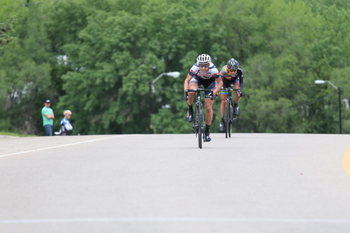 Mindy McCutcheon beat Breanne Nalder in a two-up sprint to take the wom- en's Pro/1/2/3 win in the 2015 Sugarhouse Criterium. Photo by Dave Iltis