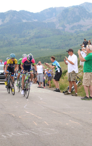 Will Tom Danielson (in yellow) defend his Tour of Utah crown in 2015? Photo by Dave Iltis