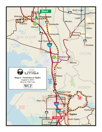 Map - Stage 2 - 2015 Tour of Utah - Tremonton to Ogden