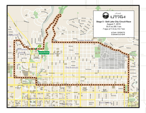 Map - Stage 5 - 2015 Tour of Utah - Salt Lake City Downtown Circuit