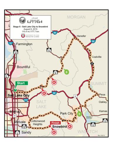 Map - Stage 6 - 2015 Tour of Utah - Salt Lake City to Snowbird
