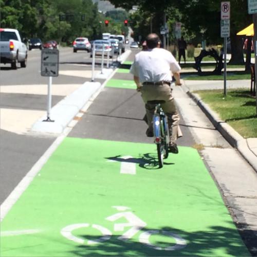 bicycle lane in Salt Lake City