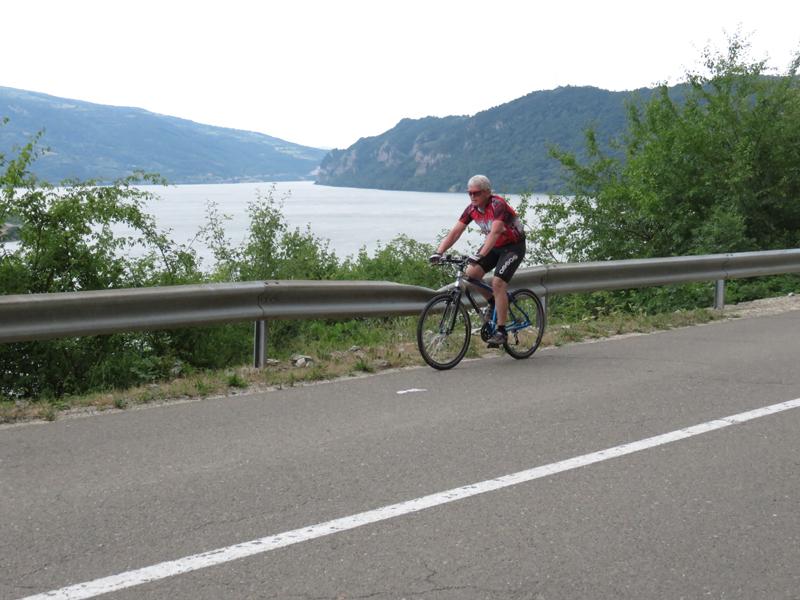 Utah bicycle rider along Danube in Serbia