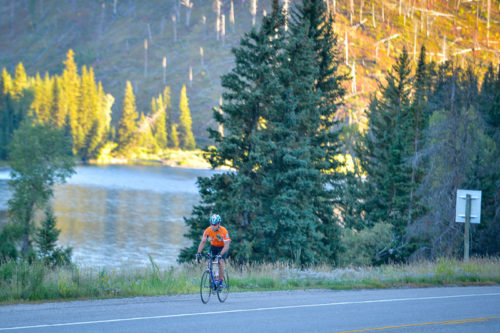 Bike rider by the snake river canyon near Astoria Hot Springs