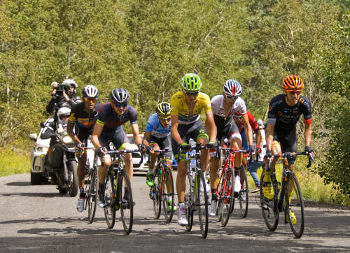 2015 Tour of Utah Overall Champion Joe Dombrowski leads the chase group on the Empire Pass Climb in Stage 7. Photo by Steven Sheffield