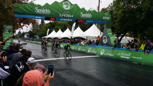 5 Man Break at the end of stage 1 of the 2015 Tour of Utah. Photo by Mark Deterline