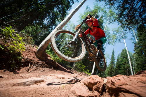 Amanda Cordell is ready to shred the Scott Enduro Cup at the Canyons on August 15, 2015. Photo by Mike Schirf.