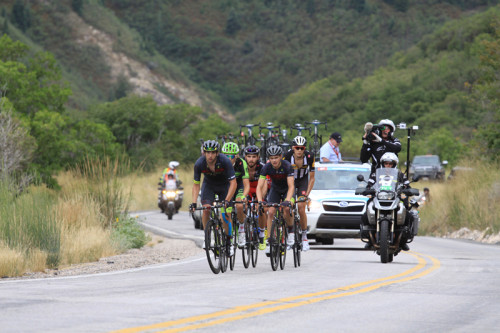 The break climbs North Ogden Divide on Stage 3 of the 2015 Tour of Utah. Photo by Dave Iltis