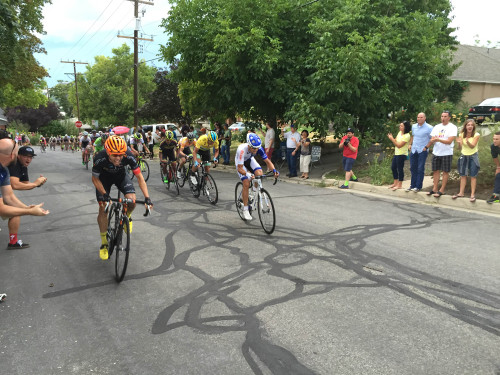 Mike Woods attacks with 275 meters to go to win Stage 5 of the 2015 Tour of Utah and take over the yellow jersey. Photo by Cameron Hoffman, Team Endurance360