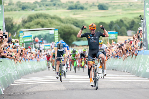 The fans cheer as Eric Young (Optum Kelly Benefits) wins the uphill sprint on Stage 4 2015 Tour of Utah daverphoto.com