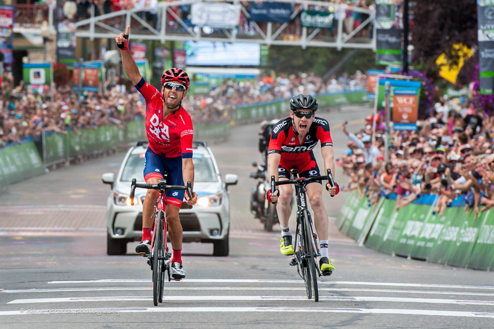 The fans go crazy as as Norris (Drapac) outsprints Bookwalter (BMC)on an uphill finish on the streets of Park City to win Stage 7, 2015 Tour of Utah, daverphoto.com