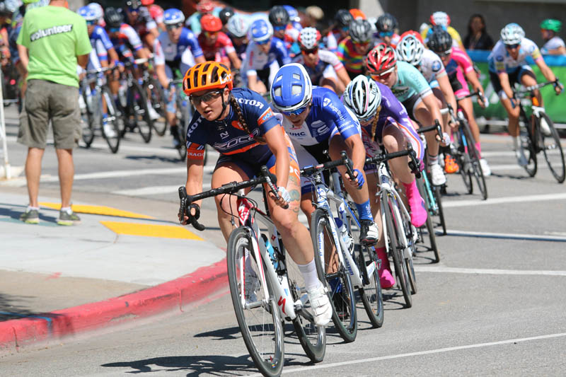 United Healthcare (second wheel) controlled the race as much as possible to secure the stage and overall wins at the 2015 Tour of Utah Women's Edition Stage 2 in Ogden, Utah on August 4, 2015. Photo by Dave Iltis