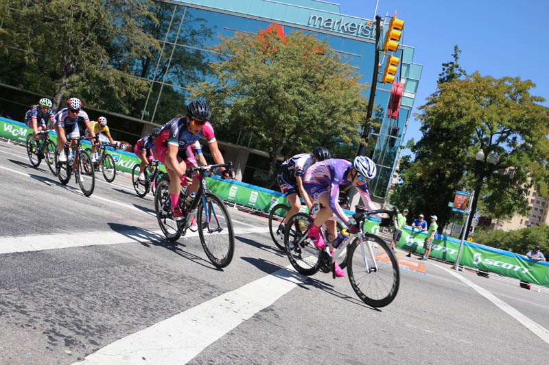 Action in the 2015 Tour of Utah Women's Edition Stage 2 in Ogden, Utah on August 4, 2015. Photo by Dave Iltis