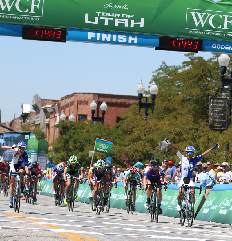 Rivera right took the stage win, while teammate Barnes took the overall omnium win - 2015 Tour of Utah Women's Edition Stage 2 in Ogden, Utah on August 4, 2015. Photo by Dave Iltis