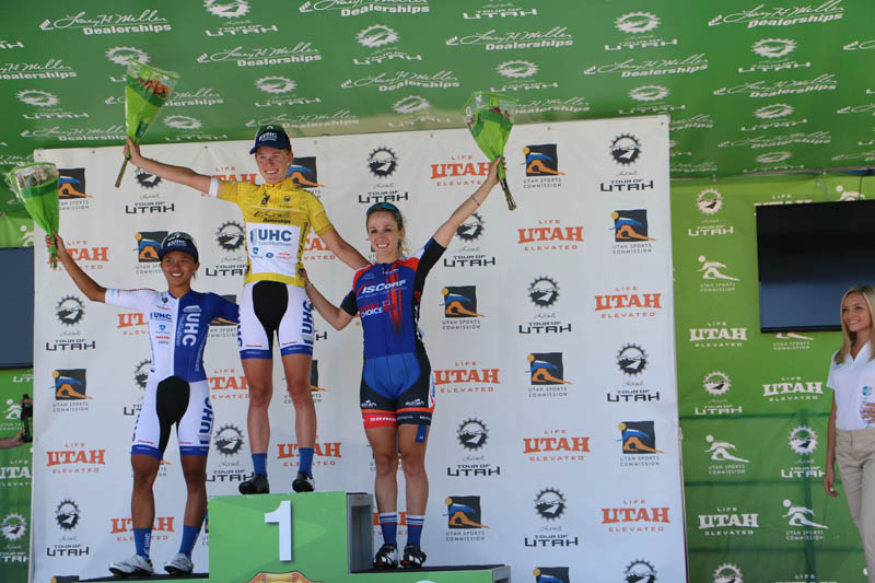 The women's overall podium: Barnes, Rivera, Schneider - At the 2015 Tour of Utah Women's Edition Stage 2 in Ogden, Utah on August 4, 2015. Photo by Dave Iltis