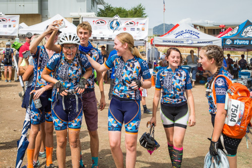 Some of the Flying Monkey Team having fun after a race: (left to right) Parker Hale, Maya Harris, Ethan Osness, Rylee Slater, Camryn Christensen, Zoe Price. Photo by Amy Osness