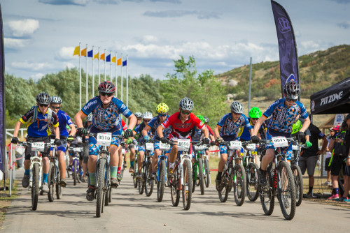 The Flying Monkeys race of the start at Soldier Hollow. the start line up from front left to right: Mason Miller plate 9510, TeeJay Jones 9511, Ian Baron 9509, Carson Macdonald 9512, Chance Williamson 9535, Jacob Butterfield 9534 Other riders (not shown) include Jonah Stoddard plate 9513 and Cameron Wright 9543 Photo by Amy Osness