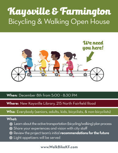 Kaysville and Farmington Bicycle Master Plan Open House to be held on December 8, 2015.