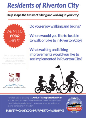 Riverton is conducting a study on bicycling and walking in Riverton City, Utah.