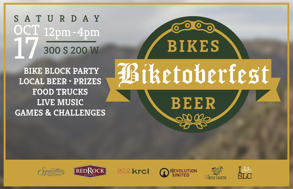 Biketoberfest will be held at 200 S and 200 W in Salt Lake City on October 17, 2015 from 12 to 4 pm.
