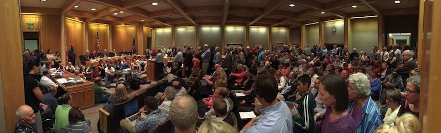 The October 27, 2015 Bountiful City Council meeting was packed with people opposing the proposed land swap in the Bountiful Foothills. Photo by Taylor Felt