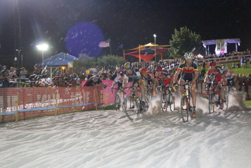 The leaders hit the sand pit in the 2015 CrossVegas World Cup in front of huge crowds. Photo by Dave Iltis