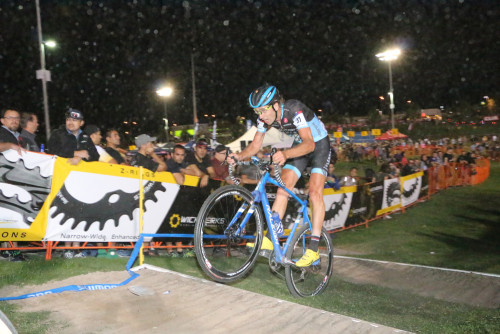 Jamey Driscoll bunny hops the sand run up in the 2015 CrossVegas World Cup. Photo by Dave Iltis