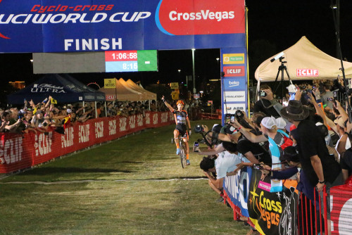 Race winner Wout Van Aert finishes in front of 12000 fans in the 2015 CrossVegas World Cup. Photo by Dave Iltis