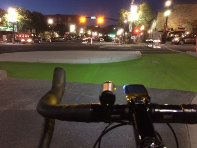 Salt Lake City's new protected intersection is at 300 S and 200 W. Photo by Dave Iltis