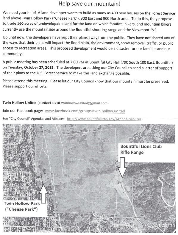 A flier being circulated by a group called Twin Hollow United.