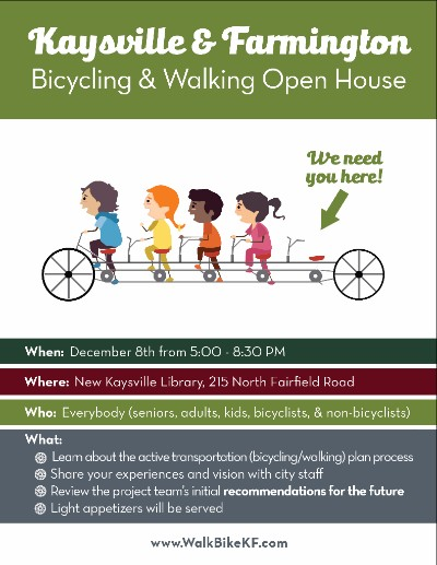 Kaysville and Farmington Bike Ped Plan Open House Set for December 8, 2015