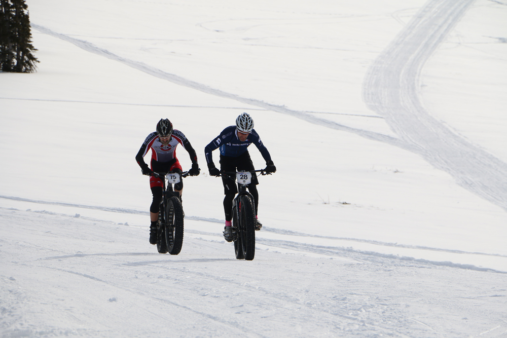 Jason Sager on his way to winning the 2015 edition of Fat Bike Nationals in the singlespeed category at Powder Mountain. The 2016 event will be on February 27, 2016 again at Powder Mountain in Ogden, Utah. Photo by Dave Iltis