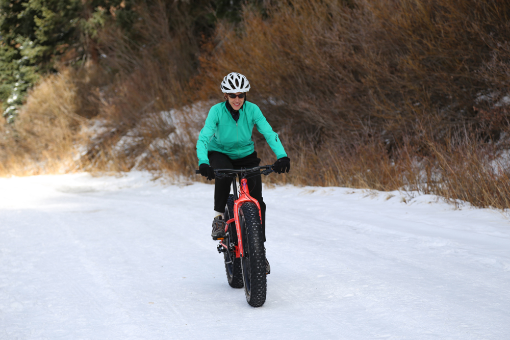 There are plenty of fun places to ride your fat bike. Tara McKee on trail. Photo by Paul McKee