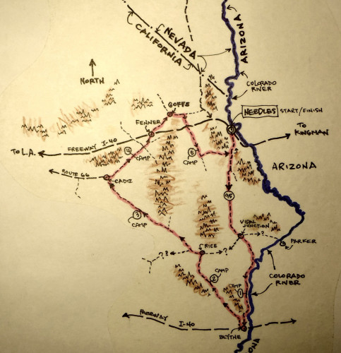 A map of John Roberson's short tour of the Mojave Desert. Photo by John Roberson
