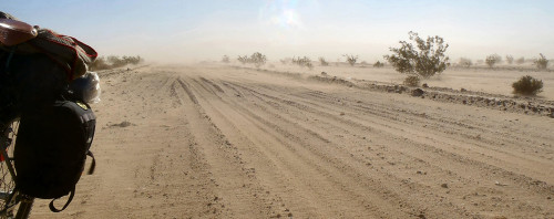 A dusty morning on the Cadiz Road. Photo by John Roberson